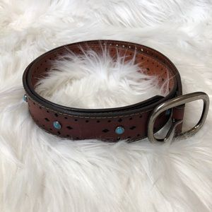 Western Style Leather Belt Turquoise Details NEW